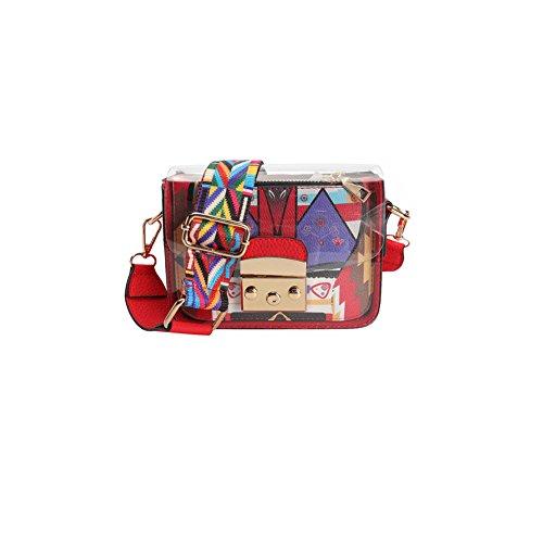 Bolso transparente claro del hombro del bolso de las mujeres del PVC pequeño Bolso cruzado del hombro 85-135cm Bolso largo durable del organizador de la correa de la longitud rojo