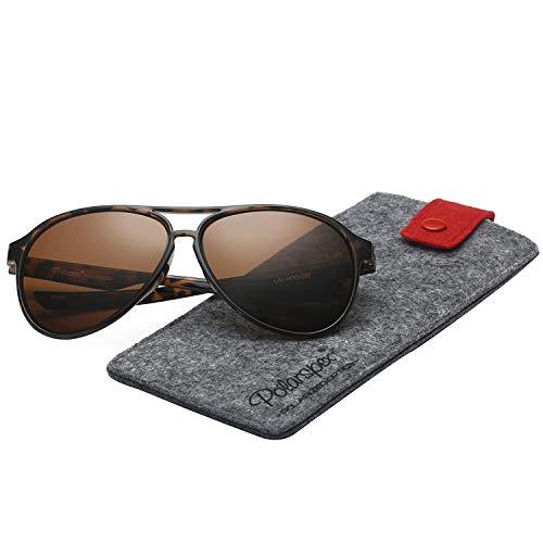 (Polarspex Classic Unisex Polarized Ultra Lightweight Flexible Aviator Sunglasses (Honey Tortoise | Polarized Brown, 56))