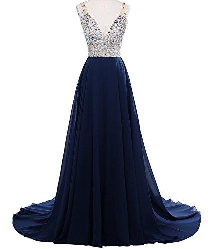 Drehouse Perles Col En V Femmes Cristal Robes De Bal De Luxe Backless Soirée Robes Formelles Taille Plus Bleu Marine