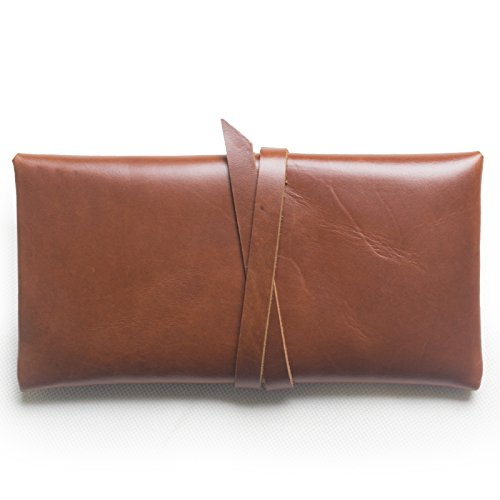Simple Classic Genuine Leather Pencil Pen Case Pouch Holder Bag Pocket Gift Marrone-rosso