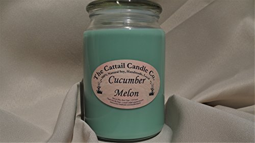 Cattail Candle - Cucumber Melon - 100% Soy Candle, 24 fl oz