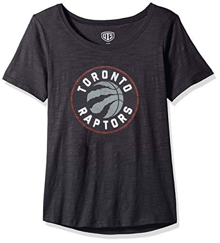 OTS NBA Toronto Raptors Female Slub Scoop Tee Distressed, Jet Black, Large