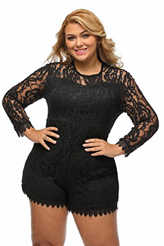 Amazon.com: Roswear Women\'s Plus Size Round Neck Long Sleeve Lace ...