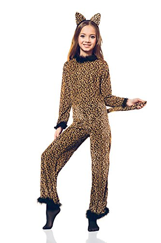 Girls' Saucy Leopard Safari Cheetah Cat Cougar Kitty Dress Up & Role Play Halloween Costume (6-8 years) -