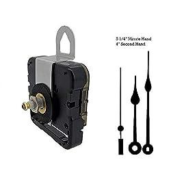 Seiko-SKP Quartz Clock Movement Kit with 5 1/4 Black Spade Hands for Dials up to 1/4
