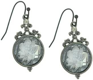 1928 Jewelry Bois de Boulogne Etched Rose Earrings