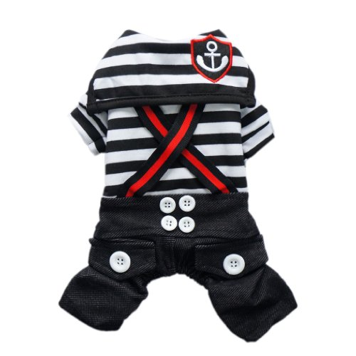 Fashion Nautical Dog Jumpsuit for Dog Shirt Dog Costumes Cozy Dog Clothes Free Shipping,Black,S, My Pet Supplies