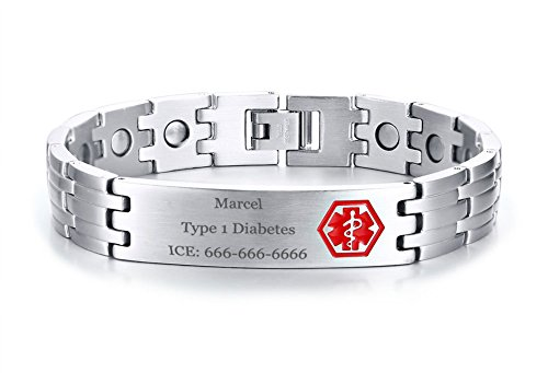 XUANPAI Free-Engraving Stainless Steel Magnet Therapy Health Medical Alert ID Bracelet for Men,Adjustable