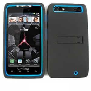 DOUBLE ARMOR COVER FOR MOTOROLA DROID RAZR HARD SOFT CASE SKIN 03-JCG BLUE BLACK XT912 CELL PHONE ACCESSORY