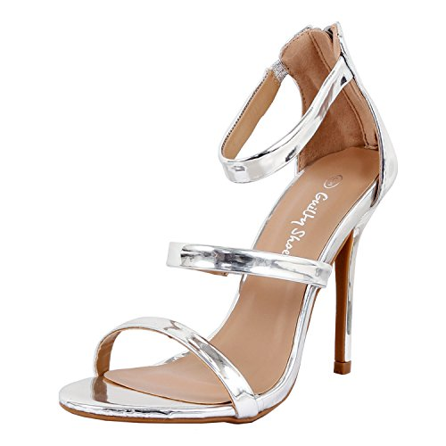 Women Glamour Sexy Metallic Ankle Strap Zip Up Dress Sandal Sandals, Silver PU, 8.5 (Sandals Heel High Silver)