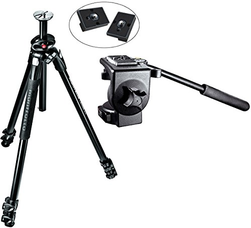 Manfrotto MT290XTA3US 290 Xtra 3-Sec Aluminum Tripod Kit with 128RC Micro Fluid Video Head and Two Replacement Quick Release Plates for the RC2 Rapid Connect Adapter (Manfrotto Tripod Fluid Head compare prices)