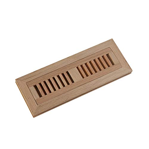 - WELLAND 2 Inch x 10 Inch Red Oak Wood Vent Cover Floor Register Louvered with Frame Flush Mount, Unfinished.