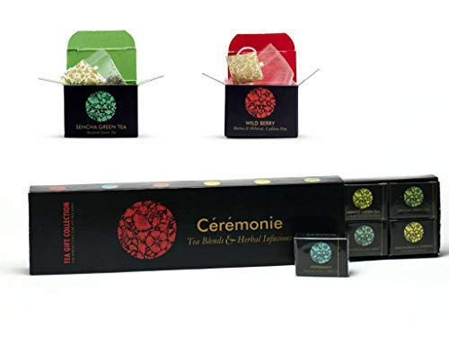 Tea Gift Collection, Ceremonie Tea, Premium Variety Gourmet Sampler Pack. 12 Individually Wrapped Silky Mesh Bags of Herbal Teas and Blends. Great Gift, Party or to Enjoy at Home. Certified Kosher.