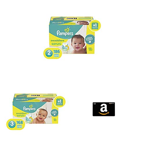 Diapers Size 2, 186 Count with Diapers Size 3, 168 Count & Amazon.com Gift Card in a Greeting Card (Various Designs)
