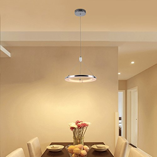 CHYING Modern Pendant Light, Mini LED Chandeliers Ceiling Light, 1-Ring, 15W, Warm White, 3000K, Adjustable Height Hanging Light Fixture for Kitchen Island, Dining Room, Restaurant