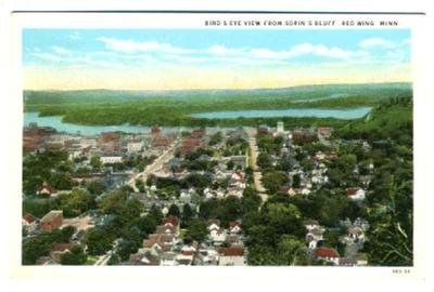 View Birdseye Postcard (Birds Eye View Red Wing Minnesota from Sorin's Bluff Postcard)
