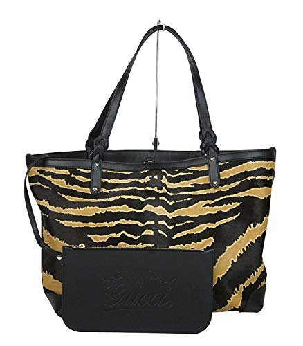 Gucci Craft Zebra Printed Multi-Color Leather/Calf Hair Tote Bag With Pouch 247209 8737