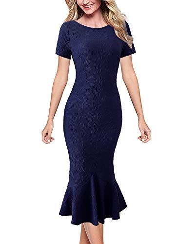 VFSHOW Womens Dark Blue Elegant Vintage Casual Cocktail Party Bodycon Pencil Mermaid Midi Mid-Calf Dress 3395 DBLU XS