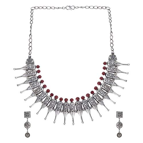Efulgenz Boho Vintage Antique Ethnic Gypsy Tribal Indian Oxidized Silver Tassel Statement Choker Necklace Jewelry