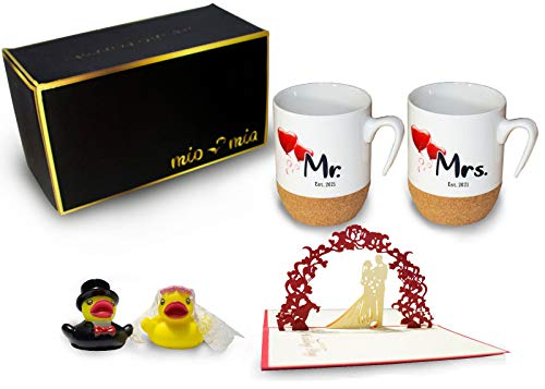 MIAMIO – Regalo para Pareja Nupcial Mr & Mrs/Set de Regalo de Boda/Tazas de Café Set con Corcho (Boda 2021)