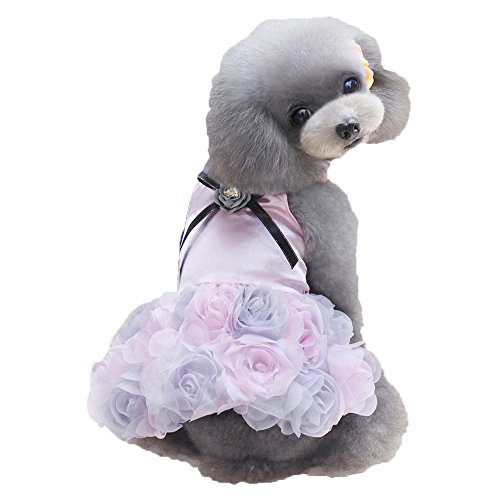 S-Lifeeling Roses Dress Pet Costumes Sweet Shirts Spring Summer Teddy Dog Clothes
