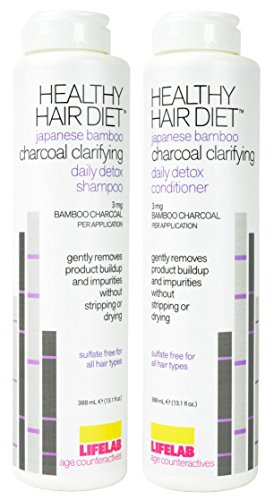 Lifelab Healthy Hair Diet Charcoal Clarifying Shampoo and Healthy Hair Diet Charcoal Clarifying Conditioner Bundle with Activated Charcoal and Coconut Oil, 13.1 fl. oz. each (Best Diet For Healthy Hair)