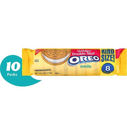 OREO Double Stuf Golden Sandwich Cookies, Vanilla Flavor, 10 King Size Snack - Sandwich Oreo