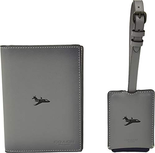 - COACH Men's Boxed Passport Case and Luggage Tag Featuring Motif Grey One Size