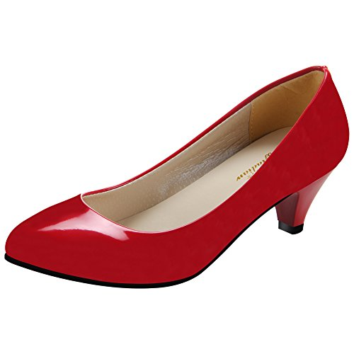 Padgene Escarpins Femme à Talons Hauts Fête Soirée Chaussures de Talon de  5cm Rouge 21d4deb9c77e
