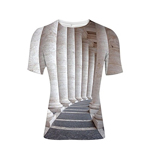 T-Shirt Short Sleeves,Columns Stone Pillars Old Architecture Digital,Mens Cool 3D Print