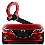 DEWHEL JDM Aluminum Track Racing Front Bumper Car Accessories Auto Trailer Ring Eye Towing Tow Hook Kit Screw On 2014-up Mazda3 2014-up Mazda6 2013-up Mazda CX-5 2016-up Mazda MX-5 (Red)