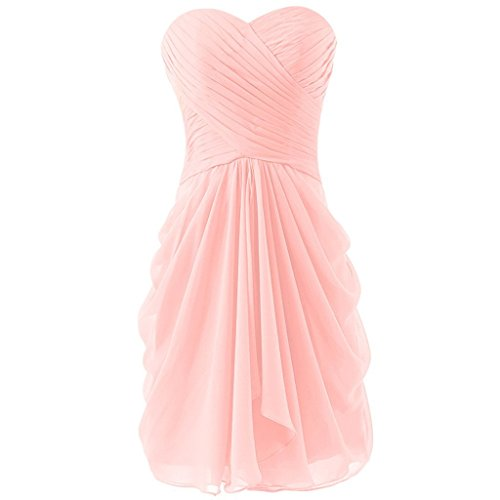 Blevla Womens Sweetheart Pleated Bridesmaid Dress Short Prom Dress Homecoming Gowns Pink US 6