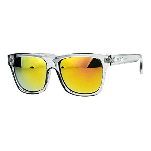 Kush Translucent Slate Gray Frame mirrored Lens Hipster horned Sunglasses - Sunglasses Mirrored Orange Wayfarer