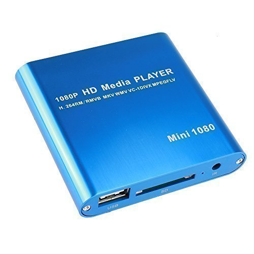 AGPtek® Mini 1080P Full HD Digital Mediaplayer Medienspieler Medienspieler mit Fernbedienung für MP3, WMA, OGG, AAC, FLAC, APE, AC3, DTS, ATRA - Unterstützt HDMI CVBS & YPbPr Videoausgang - Datei von USB Festplatten Flashdrives Speicherkarten abzuspielen(Blau)
