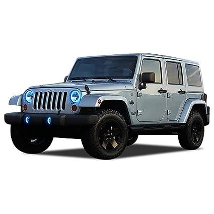 Amazon Com Flashtech Jeep Wrangler 07 17 Blue Single Color Led Halo
