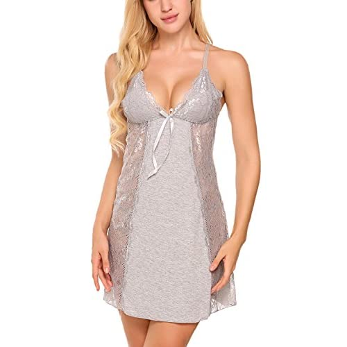 outlet Vansop Women s Chemise Sexy Lingerie Lace Babydoll Satin Nightgown  Full Slip Sleepwear Dress 285648021