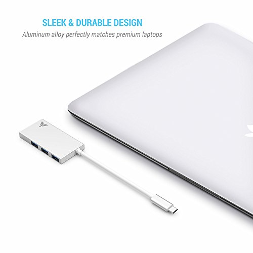 MAKETECH Ultra Slim Aluminum USB Type-C HUB with 3 USB 3.0 Data Ports and 1 USB-C Passthrough Charging Port for New Macbook Pro 2016, New Macbook 2015/2016, Chromebook Pixel and More Type-C Devices by MAKETECH (Image #4)