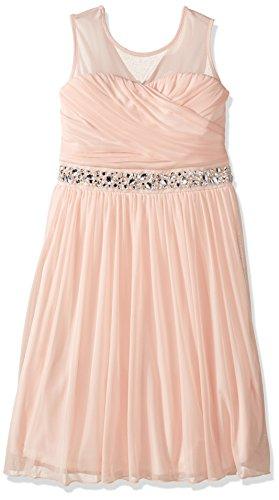 Speechless Girls' Big Illusion Shirred Sweatheart Top Dress, Pale Blush, 16 -