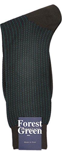 Park Avenue Herringbone Mid-Calf Cotton Socks-Forest Green-Medium Park Avenue Dress