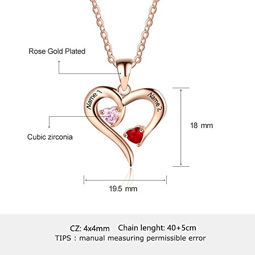 6b4e01ef25 Personalized 2 Names Simulated Birthstones Necklaces 2 Couple Hearts Name  Engraved Pendants for Women £¨