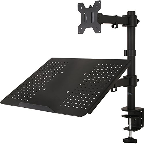 "WALI Single LCD Monitor Desk Mount Fully Adjustable Stand with Extra Laptop Tray for One Laptop Notebook up to 17"" and One Screen up to 27"", 22 lbs. Weight Capacity (M001LP), Black by WALI"