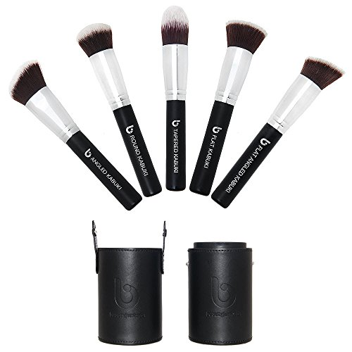 Kabuki Makeup Brush Set with BONUS Travel Brush Holder: Includes Foundation, Blush, Bronzer, Concealer, & Mineral Brushes (Makeup Forever Brush Set)