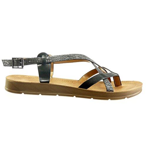 madera Angkorly zapatillas Plataforma Negro plataforma de Moda Talón Zapatillas CM de Sandalias tachonado brillantes mujer 2 TqHTrwz