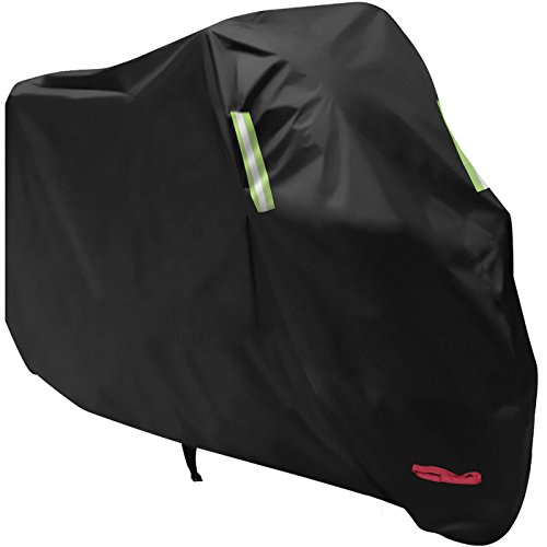 Waterproof Motorcycle Cover, All Weather Outdoor Protection, 210D Oxford Durable and Tear Proof for 104 inches XXL Motorcycles like Honda, Yamaha, Suzuki, Harley and More -