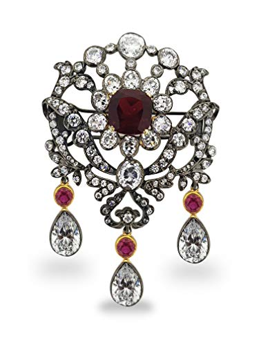 (Adastra Jewelry 925 Sterling Silver brooch pin simulated rubies AAAAA grade CZ handmade Victorian style)