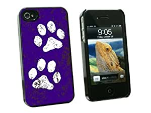Graphics and More Paw Prints Distressed Purple - Snap On Hard Protective Case for Apple iPhone 5c - Black - Carrying Case - Non-Retail Packaging - Black