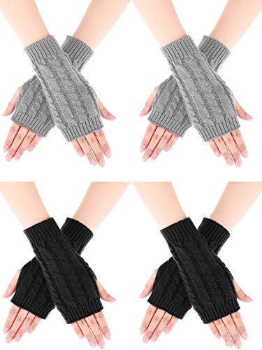 Bememo 4 Pairs Women Long Fingerless Gloves Winter Mitten Arm Gloves with Thumb Hole (Color Set 3, Short Type)