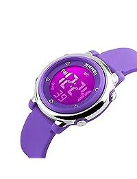 Kids Digital Watch Boy Girls Outdoor Sports LED Alarm Stopwatch Children's Dress Wristwatches(Purple)