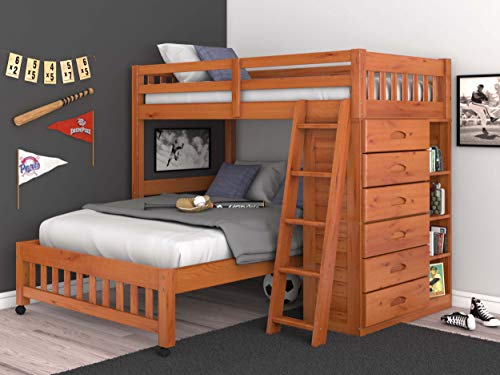 (Discovery World Furniture Twin Over Full Loft Bed in Honey Finish )