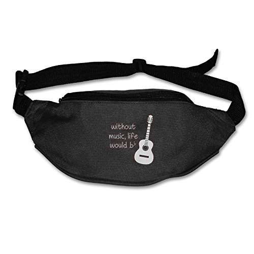Ada Kitto Without Music Life Would B Flat Mens&Womens Lightweight Waist Pack For Running And Cycling Black One Size by Ada Kitto
